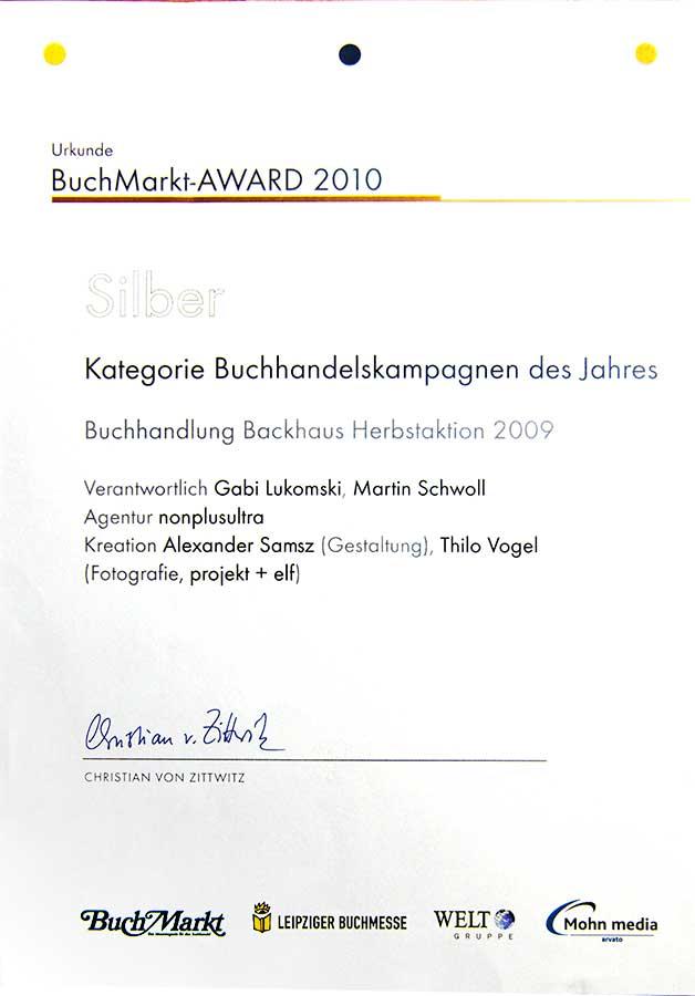 BuchMarkt Award für Werbeagentur nonplusultra 2010